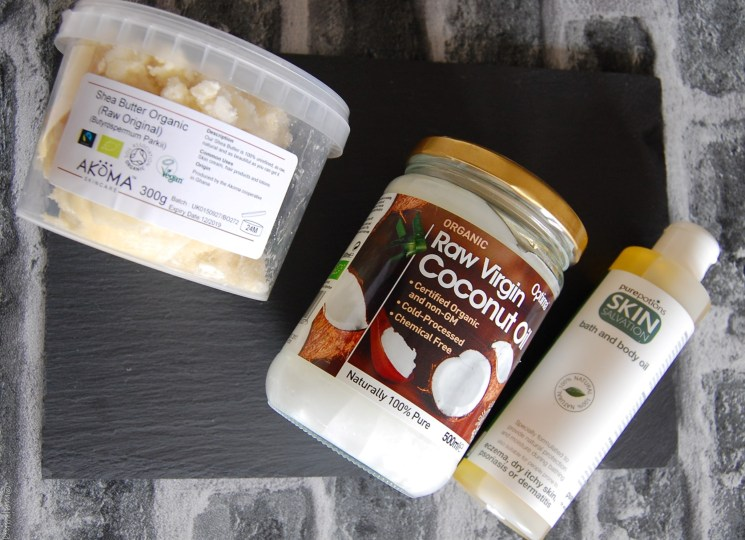 shea butter, coconut oil and body oil on Natural products www.majeang.com