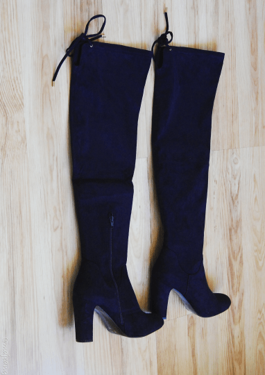 December purchases- blue suede boots