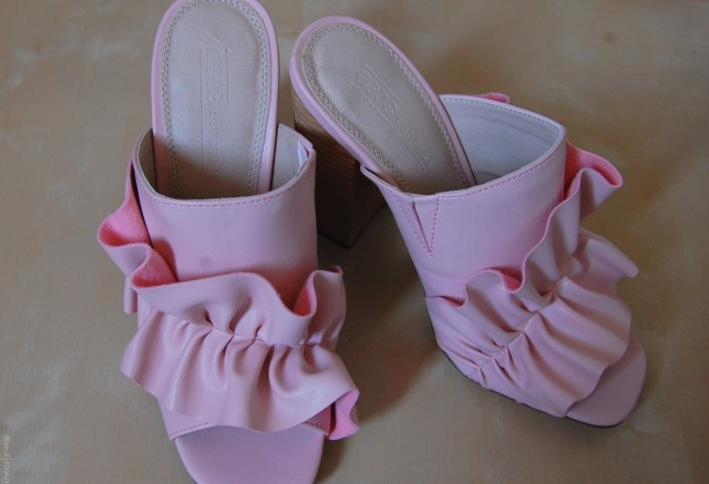challenging your fashion fears- pink ruffle mules