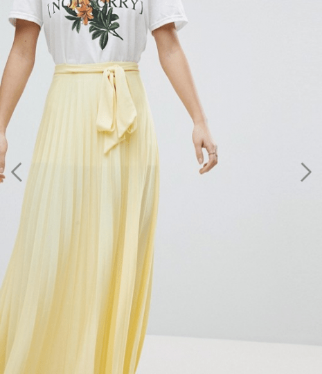 under £40 picks from asos- yellow pleated maxi skirt