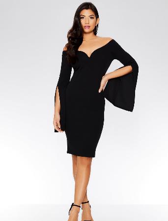 spring dresses under £35 by quiz clothing- black off the shoulder dress