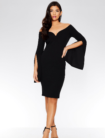 spring dresses under £35 by quiz clothing- black off the shoulder dress