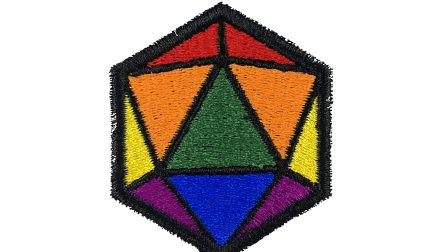 An embroidery patch shaped like a d20 with the colors of the rainbow flag and black borders.