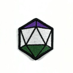 An embroidery patch shaped like a d20 dice. It has black borders. The top facets are purple, the middle facets are white, and the bottom facets are green in the style of the genderqueer flag.