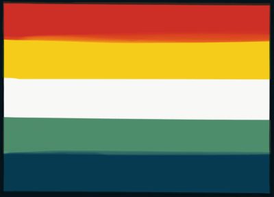 MLM flag with 5 even horizontal stripes which are colored (top to bottom): red-orange, yellow, white, green, and navy blue. The colors are from roosters.