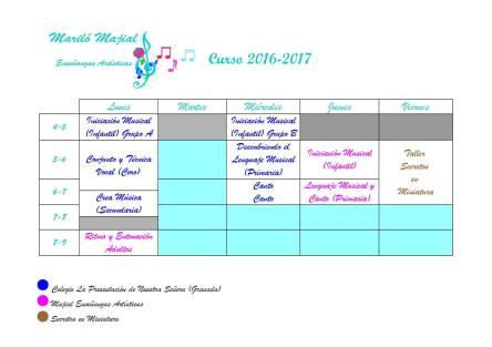 Horario Curso 2016-2017