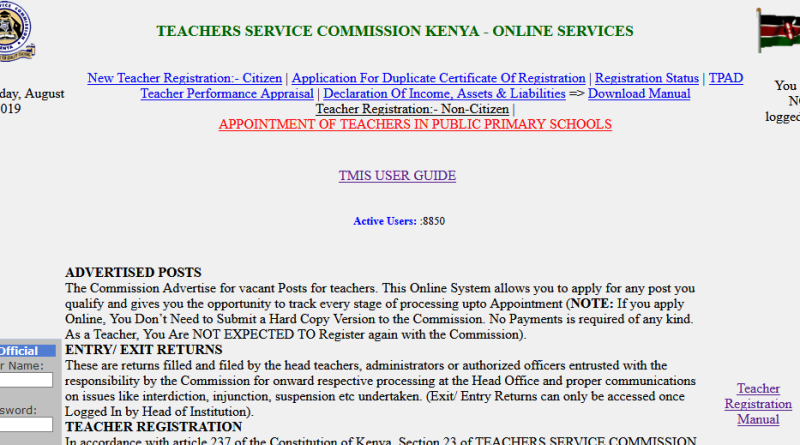 TSC Number Application
