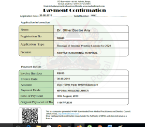 practice license application