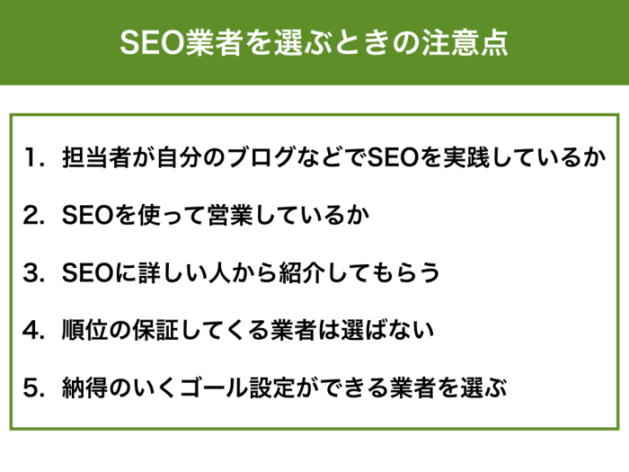 担当者が自分のブログなどでSEOを実践しているか SEOを使って営業しているか SEOに詳しい人から紹介してもらう 順位の保証してくる業者は選ばない 納得のいくゴール設定ができる業者を選ぶ