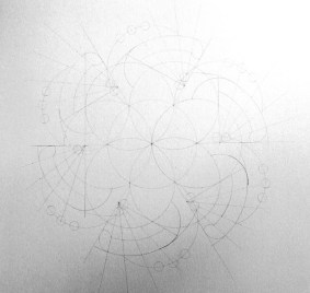 Completed pencil lines: despite the complexity, nothing is arbitrary. The intersections of certain lines provide the centers for my circle segments, which provide alignments, etc.