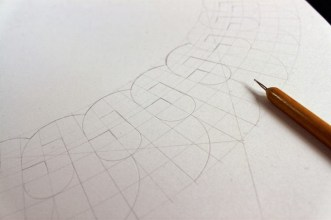 First the construction of Leila in pencil, pushing my compass to its limits, followed by debossing the lines for the next step.