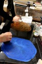 Much later, the dried powder is ground with a medium to make watercolor, egg tempera or oil paint.