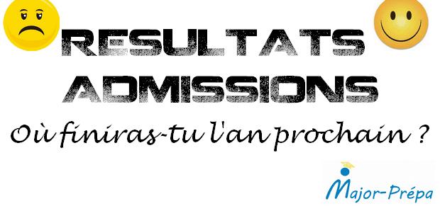 Dates et liens des résultats d'admissions 2015