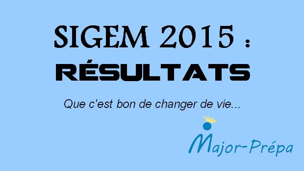 Résultats SIGEM 2015