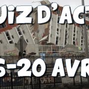 Quiz d'actu : 16 – 20 avril 2016