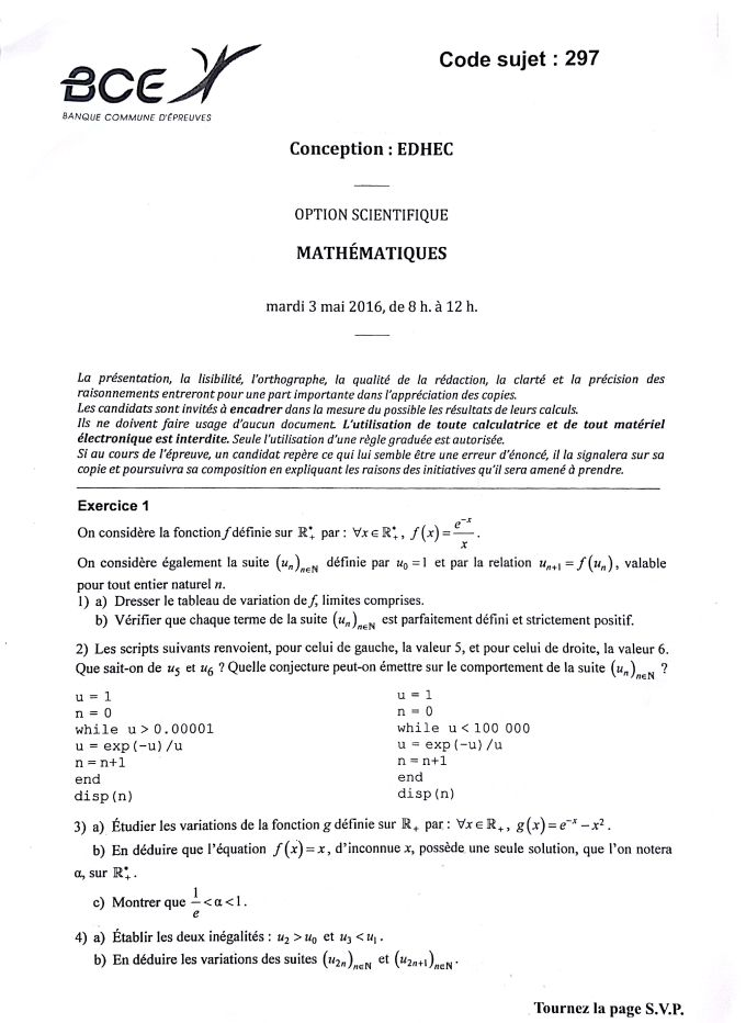 ujet Maths EDHEC 2016 S - Page 1