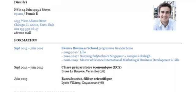 Exemple CV SKEMA issu d'un entretien noté 20/20