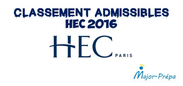 Classement Admissibles HEC 2016