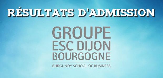 Résultats d'admissions ESC Dijon 2016