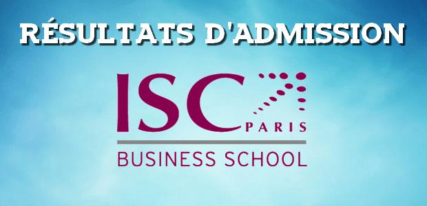 Résultats d'admissions ISC Paris 2016