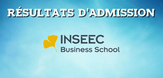 Résultats d'admissions INSEEC 2018