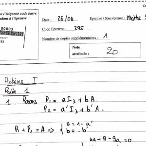 Une Copie Maths Emlyon