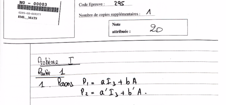 Copie de maths emlyon notée 20/20