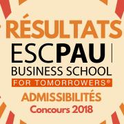 Résultats d'admissibilités ESC Pau 2018