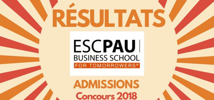 Résultats d'admissions ESC Pau 2018