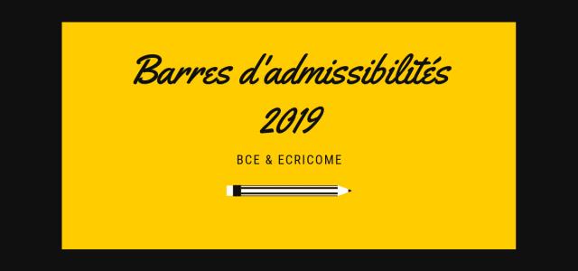 Barres d'admissibilités BCE et Ecricome 2019