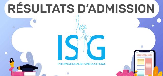Résultats d'admission ISG 2019