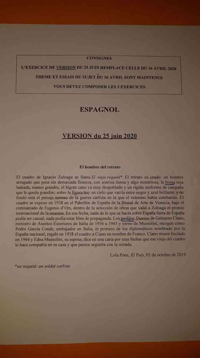 Version Espagnol Ecricome