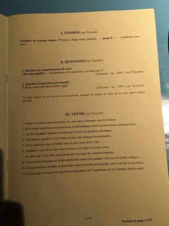 sujet lv2 IENA 2020 10
