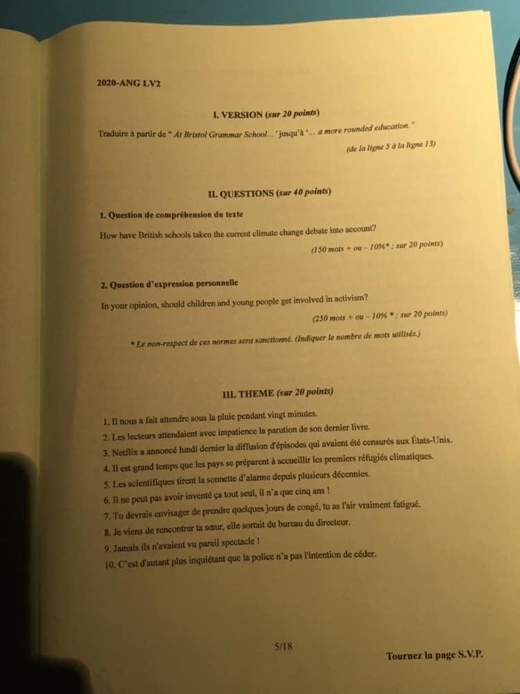 sujet LV2 IENA 2020 6