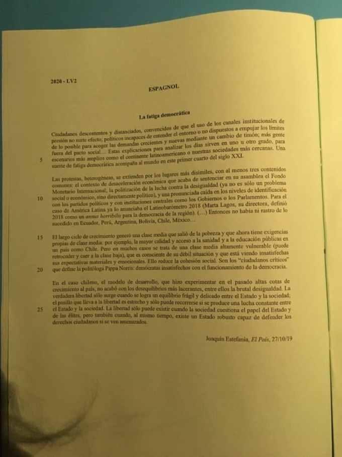 sujet lv2 IENA 2020 8