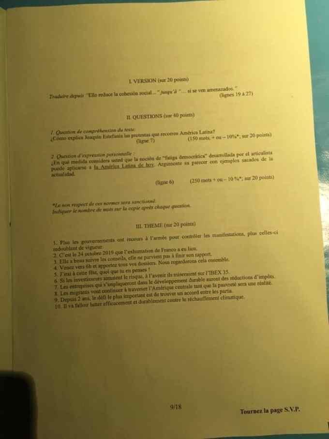 sujet lv2 IENA 2020 9