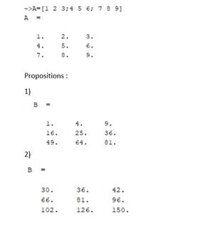 Si A est la matrice suivante, que renvoie l'instruction B=A.*A ?