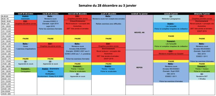 planning Estelle 2A noël