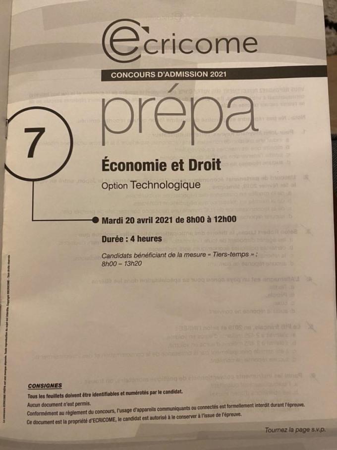 sujet Eco-droit Ecricome 2021
