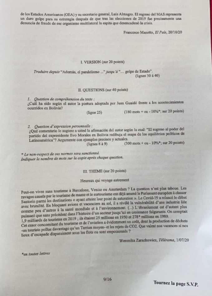 sujet Espagnol LV1 IENA 2021