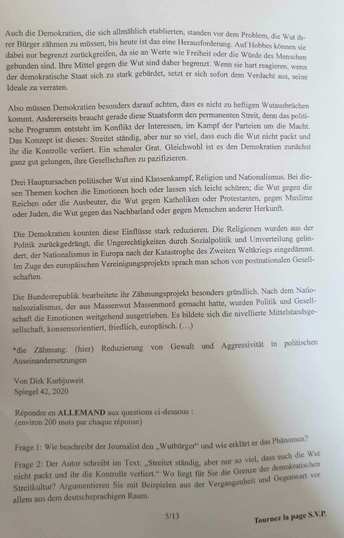 Sujet Allemand LV2 ELVi 2021
