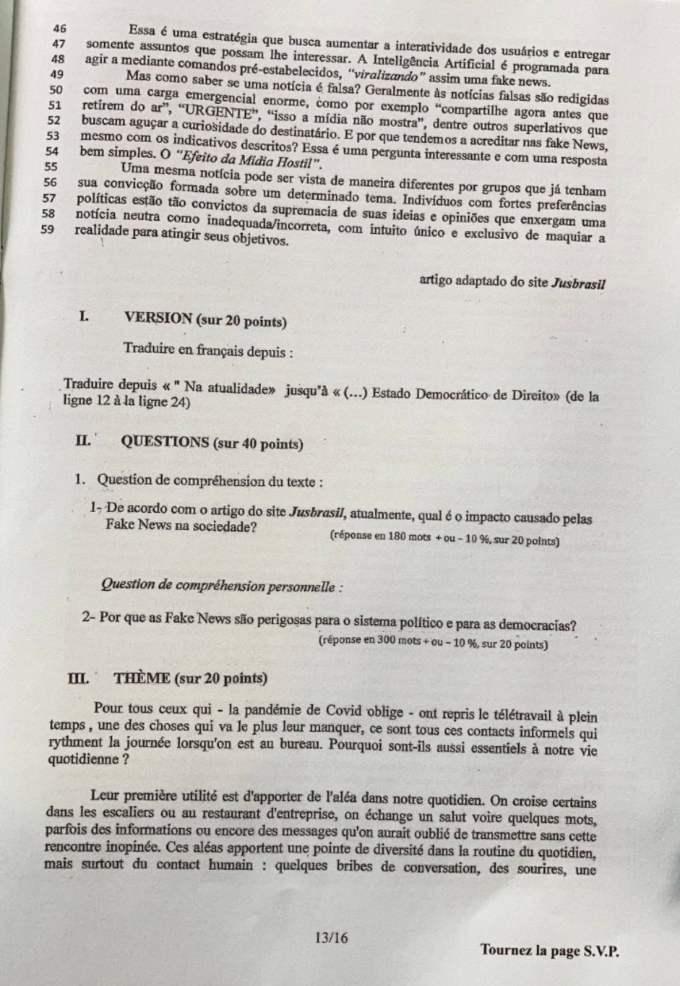 sujet LV1 Langues rares IENA 2021