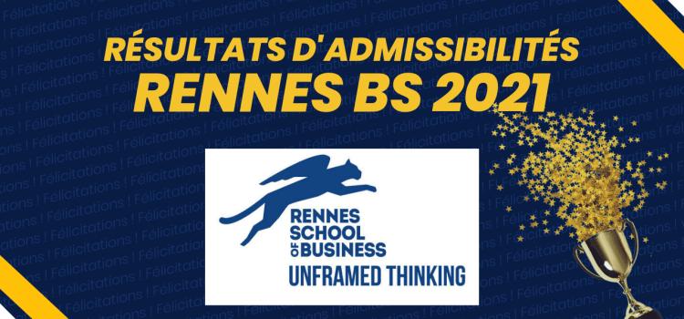 Résultats d'admissibilités Rennes School of Business (RSB) 2021