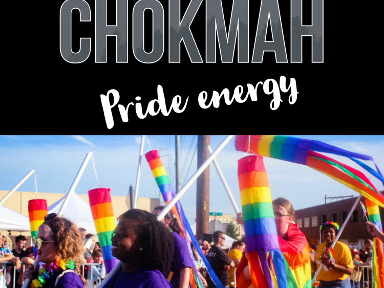 "Image of people walking in a Pride parade carrying rainbow windsocks. Text: ""Chokmah: Pride Energy."""