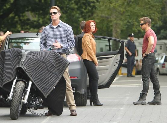 """Scarlett Johansson on """"The Avengers"""" Set"""