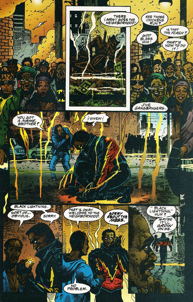 "[Isabella, Tony (w), Newell, Eddy (p) & McCain, Ron (i)..] ""The Weekend Report"" Black Lightning Vol. 2 #1 (February 1995), p.22, DC Comics Inc."