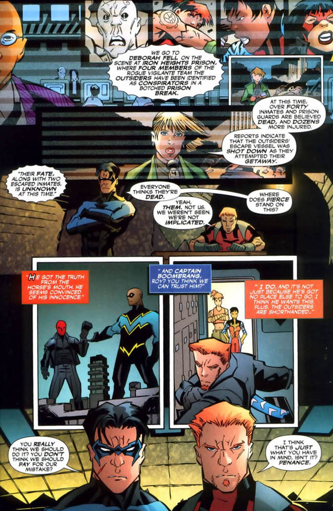 "[Winick, Judd (w), McDaniel, Scott (p), & Owens, Andy (i).] ""The Wrong To Do Right."" Outsiders Vol. 3 Annual #1 (June 2007), p.33, DC Comics Inc."