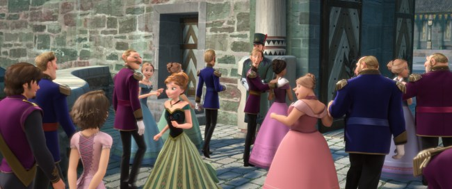 "WELCOME TO ARENDELLE – Elsa's coronation draws guests from far-away lands—and movies. From ""Tangled,"" Eugene Fitzherbert aka Flynn Rider and Rapunzel even made the guest list."