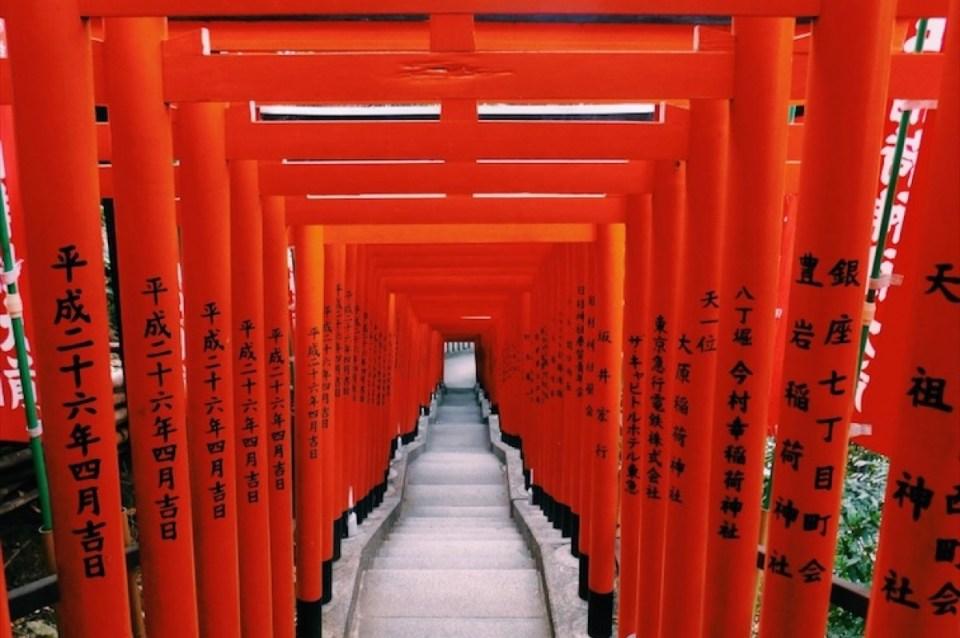 Torii Gates of Hie Shrine near Tokyo Imperial Palace