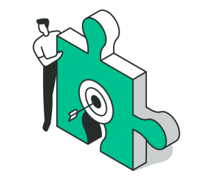 Resolving Product Portfolio Conundrums: Man holding up a puzzle piece with an arrow through a target bullseye